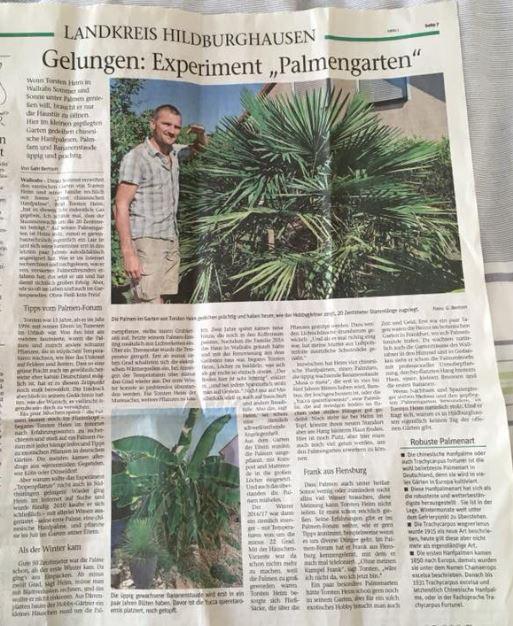 Bericht über Torstens Palmengarten in der örtlichen Tageszeitung