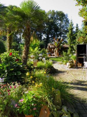 gepflasterte Fläche mit Palmen links im Bild sowie Rasenfläche