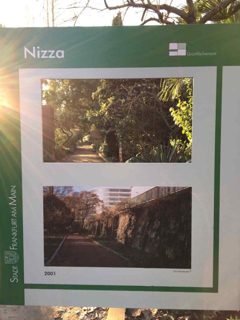 Schild mit Blick in den Nizza Park 2001 und heute